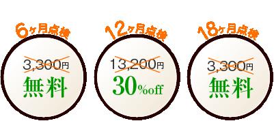6ヶ月点検 3,150円 無料 12ヶ月点検 12,600円 30%off 18ヶ月点検 3,150円 無料